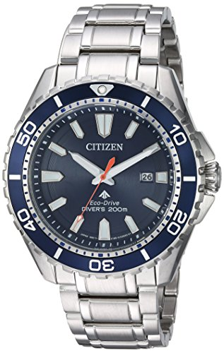 Citizen Men's Eco-Drive Japanese-Quartz Diving Watch with Stainless-Steel Strap, Silver, 22 (Model: BN0191-55L