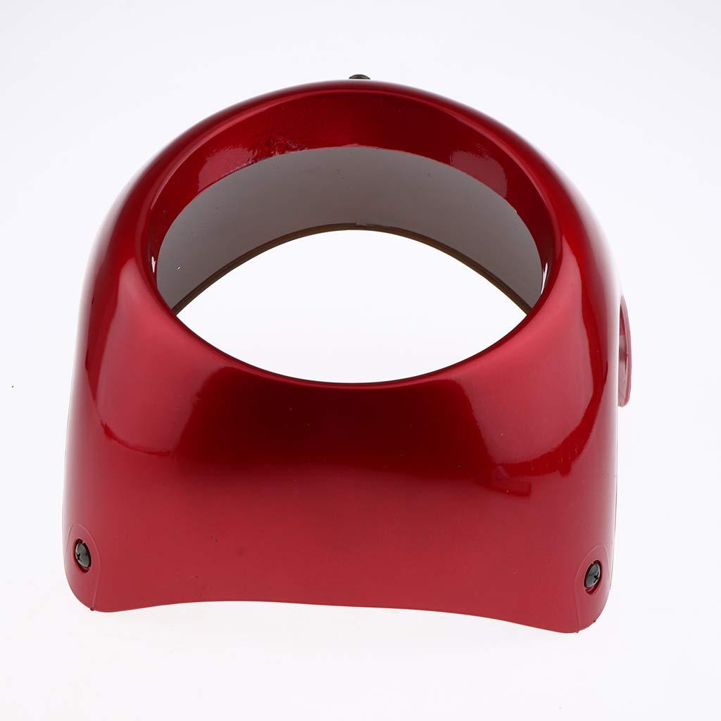 Yellow B Blesiya Motorcycle 7 inch Retro Headlight Fairing Windscreen Windshield for Cafe Racer w// 16.5cm-18cm Headlamp Red