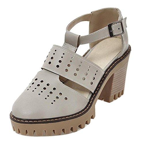 Gray RAZAMAZA Block Women Heel Pumps Zwq81HgCxw
