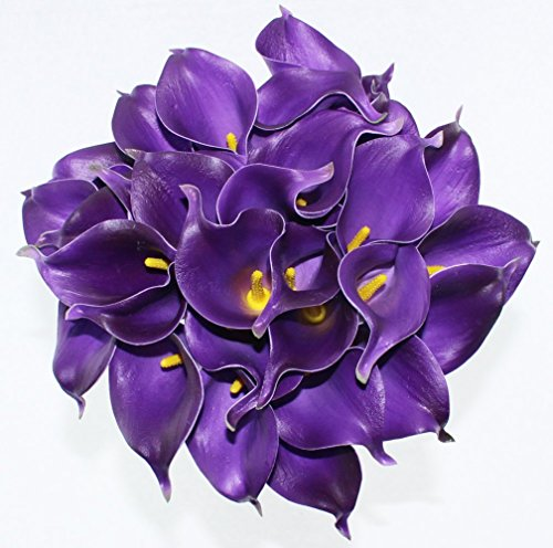 Simpleyourstyle Calla Lily Artificial Flower 20pcs No Vase Bridal Wedding Bouquet 20 Head Latex Real Touch Flower Bouquets (Purple)
