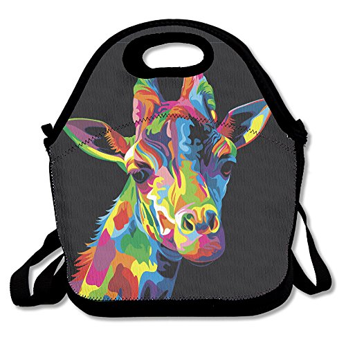 YWG Giraffe Colorful Bright Head Ziplock Lunch Tote Bag Portable Handbag Lunch Box Waterproof Insulated Food Container For Boys&Girls School Picnic Office Travel Outdoor