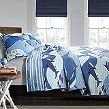Lush Decor, Blue Shark Allover Quilt | Fish Ocean