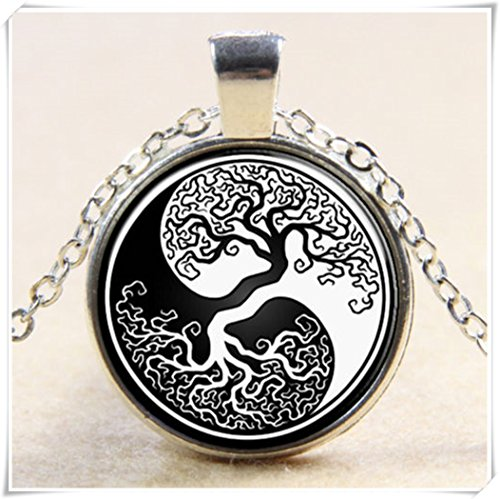 Tree Of Life Yin Yang Tai Chi Eight Diagrams Glass Art Pendant Chain Necklace