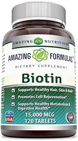 Amazing Formulas Biotin 15,000 MCG 120 Tablets (Non-GMO)