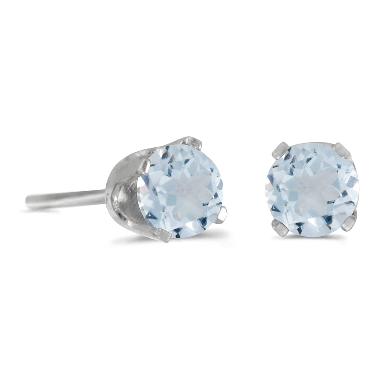 4 mm Round Aquamarine Stud Earrings in Sterling Silver