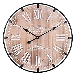 Large Wall Clock, Iron Framed Surround Vintage Decorative Clock Engraved Rustic Roman Numerals & Scales, Silent Wooden Clock for Bedroom, Living Room, Restaurant, Apartment, Cafe, Farmhouse - 24 Inch