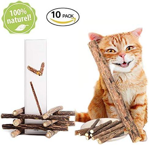 ZhengYue 10本猫歯ぎしり棒 猫薄荷 噛むスティック またたびの木 天然安全 100% 無添加 おもちゃ マタタビの木 肥満解消 歯のクリーニングスティック ストレス解消