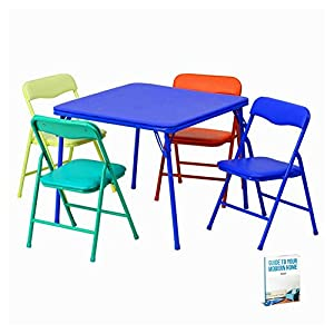 Kids Folding Table And 4 Chair Set Dining Picnic Activity Kitchen Indoor  Little Plastic Room Craft Pad Camping Foldable Girls Portable Playroom  Study Snack ...