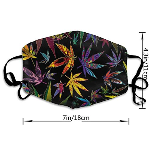 AGRBLUEN Women Men Fashion Mouth Mask, Breathable Washable Reusable Half Face Masks Warm Windproof Anti Dust Mouth Cover for Outdoor Travel Running (Novel Trippy Multi Pot Weed Leaves Prints)