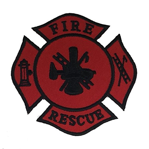 FIRE RESCUE CREST PATCH - RED AND BLACK - Sculpted Cutout - Veteran Owned Business