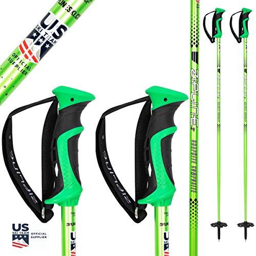 "Ski Poles Graphite Carbon Composite - Zipline Blurr 16.0 - U.S. Ski Team Official Supplier (Monster Green, 52"" in./132 cm)"