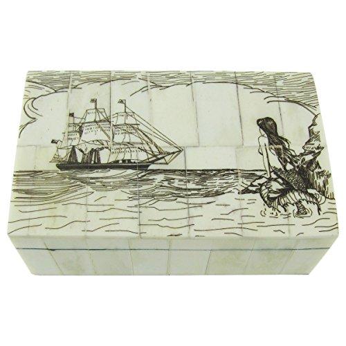 TG,LLC Fake Reproduction Scrimshaw Art Bone Mermaid Nautical Jewelry Box Treasure Chest -