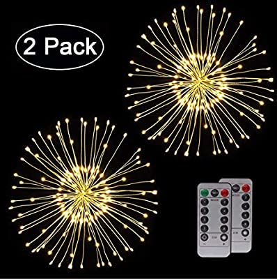 WSgift 2 Pack Warm White Hanging Firework Lights Fairy Lights Twinkle Starburst Lights Waterproof Battery Operated with Remote Control for Home Patio Parties Wedding Holiday