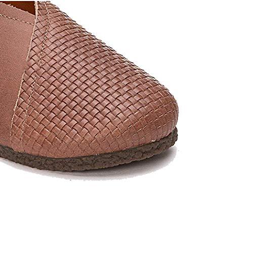 Mesdames Rétro élégant Décontracté Lightcoffee Dentelle Cuir Chaussures Portable ZPEDY en Confortable 6SIxRdCCnq