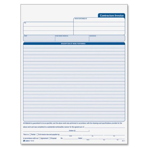 Adams Contractor's Invoice Book 8.38 x 11.44 Inch, 3-Part, Carbonless, 50 Sets, White, Canary, Pink ()