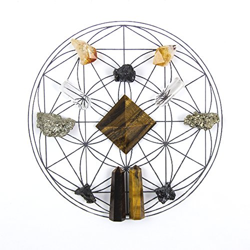 Beverly Oaks Energy Infused Healing Crystals Grid - Success and Prosperity Gemstone Gridding Set - Featuring Tiger Eye, Pyrite, Quartz, Citrine and Black Tourmaline
