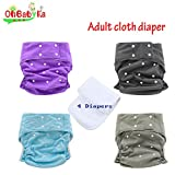 Ohbabyka Adult Reusable Waterproof Bamboo Cloth Diapers Nappies + 4 Inserts(style11)