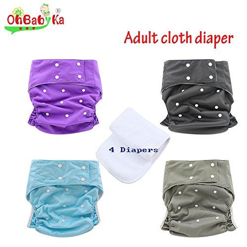 Ohbabyka Adult Reusable Waterproof Bamboo Cloth Diapers Nappies + 4 Inserts(style11) by OHBABYKA