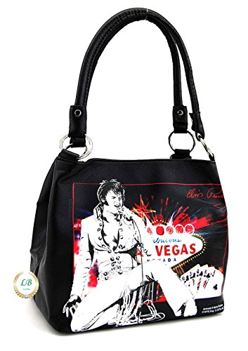 Elvis Presley Las Vegas Handbag, Medim Size Two Way Bag, Plus Keychain (Black)