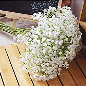 Liinmall 6 Branches Sky Star Artificial Flowers Pastoral Style Baby Breath Tabletop Flower Home Decor 11