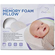The Original Head Shaping Memory Foam Pillow and Bamboo Pillowcase | Baby Pillow | White