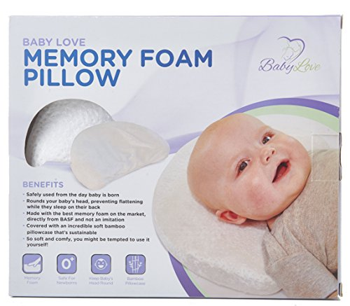 Baby Newborn Pillow (Newborn Baby Head Shaping Pillow | Memory Foam Cushion for Head Support & Flat Head Syndrome (Positional Plagiocephaly) Prevention | Bamboo Pillowcase Included)