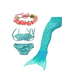 Kids Girls Sparkle Mermaid Tail with Monofin Swimmable Swimwear 4pcs Sets