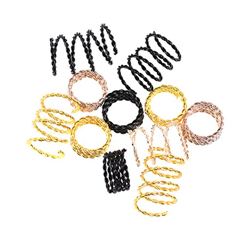 Hair Cuffs Metal Hair Braiding Beads with Crystal Aluminum Dreadlocks Accessories Spring Hair Jewelry Hair Decoration Hoops Hair Rings for Braids (175 Pcs Multiple Styles) by Messen by Messen (Image #5)
