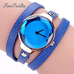 Women's Quartz Watch,Hosamtel Girls Fine Leather Strap Winding Analog Bracelet Watch A47 (A)