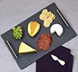 """Home Basics Slate Serving Tray with Stainless Steel Handles, Gourmet Board with Natural Edge for Cheese, Appetizer, Baked Goodies, Dry Fruits, 12"""" x 16"""", Black"""