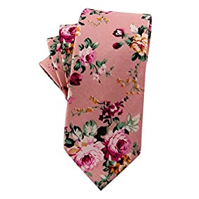 Mantieqingway Skinny Ties Men's Cotton Printed Floral Neck Tie