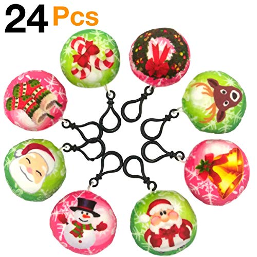 OHill Christmas Tree Ornaments Stocking Decorations 24 Pcs Christmas Emoji Plush Keychains (8 Different Christmas Element Design) for Party Favors Goodies Bag Fillers Kids Prize -