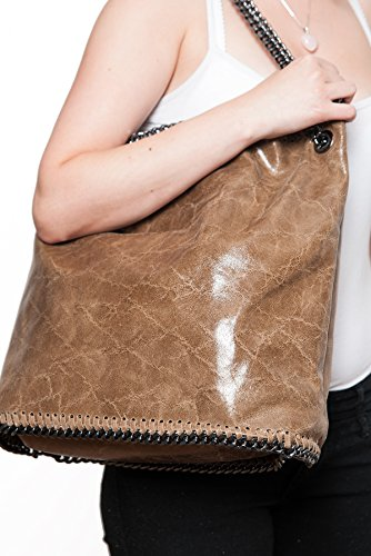 formel cm 2067 Shopper mod fashion Hobo bag by with brown 15 38 35 leather XL Chains Light Shoulderbag zqrgxPw7Zz