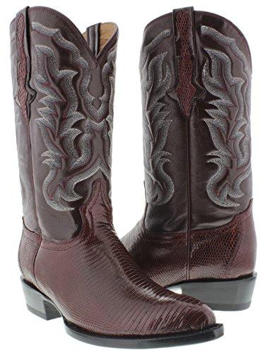 El Presidente Men's Burgundy Genuine Lizard Skin Leather Cowboy Boots J Toe 8 (Lizard Skin Cowboy Boots)