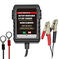Portable 6V/12V 750mA Fully Automatic Battery Charger / Maintainer for Motorcycles, ATVs, Scooters, and Automobiles, RVs, Powersports, Boat and More , Black