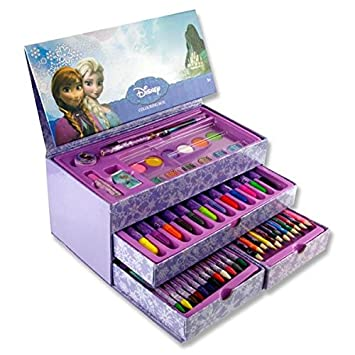 frozen 53pce carry box coloring set with handle