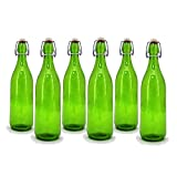 Modern Home STB-PLAINGREEN-SETOF6 Culaccino Swing Top Round Glass Bottle, Set of 6, 1L/34 oz, Lime Green Plain Finish