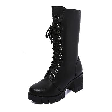 FRAUIT Zapatos de mujer Botines para mujer Botines de cuero para caballero Botas Botas de vaquero Calientes Botines Botas De Nieve Mujer Botas de otoño e ...