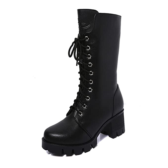 29347550d803 Zanuy-Women Shoes Woman Mid-Calf Boots Winter Knee High Calf Biker Boots  Ladies