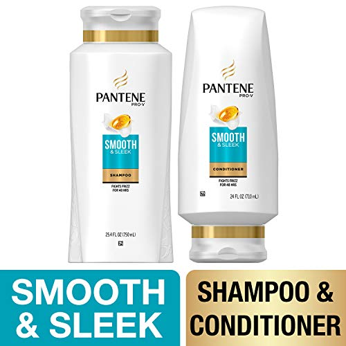 Pantene, Shampoo and Sulfate Free Conditioner Kit, with Argan Oil, Pro-V Smooth and Sleek for Dry Hair, 25.4 oz and 24 oz, Kit (Best Shampoo For Thin Dry Frizzy Hair)