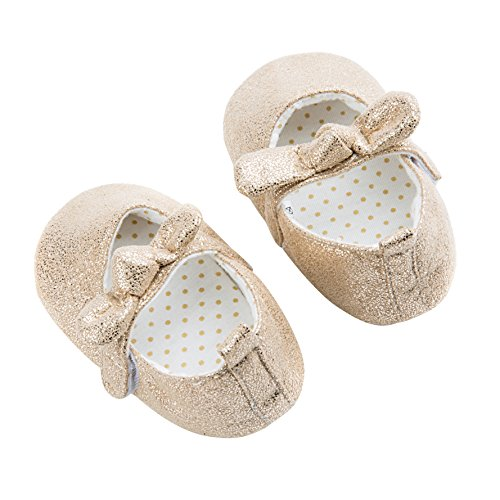 Dicry Baby Girls Soft Sole Non-Slip Sparkly Shoes Gold Velcro Buckle Mary Jane Shoes with Sequins Bowknot for 6-12 Months Infant - Image 2