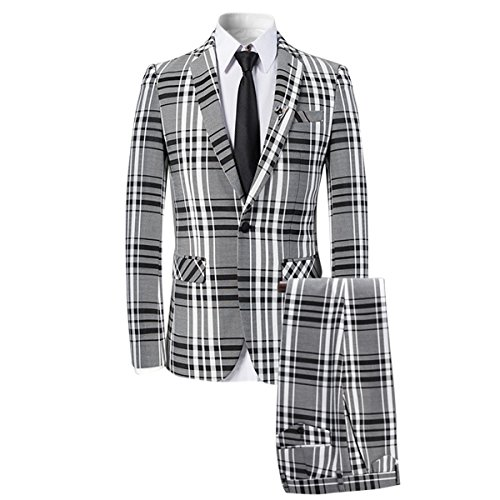 (Mens 3 Piece Suit Check Plaid Slim fit One Button Formal Dress Blazer Jacket Tux Vest & Trousers Black)