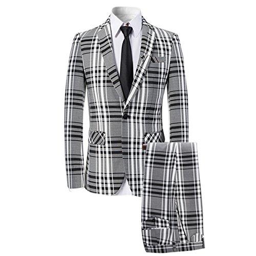 Men's 3 Piece Plaid Suit Slim Fit Christmas Party Dress Black (Plaid Cotton Suit)