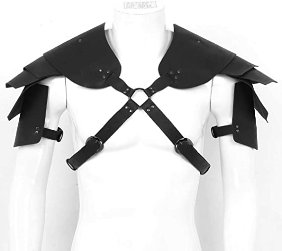dPois Mens Shoulder Armors Steampunk PU Leather Body Chest Harness Belt Warrior Knights Cosplay Costume