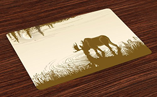 Wild Animals Placemat - Ambesonne Animal Place Mats Set of 4, Silhouette of Elk Drinking Water in Lake River Forest Wildlife Scenery Illustration, Washable Fabric Placemats for Dining Room Kitchen Table Decor, Cream Sepia