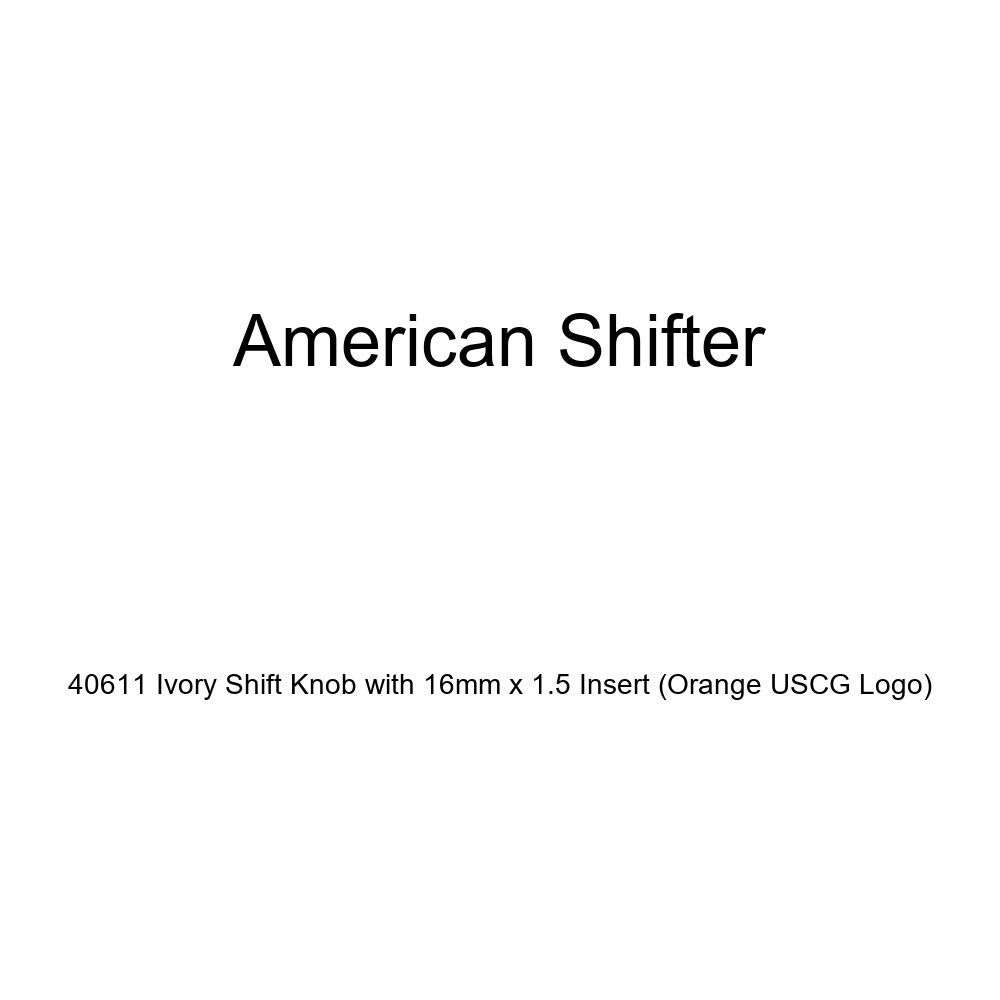 American Shifter 40611 Ivory Shift Knob with 16mm x 1.5 Insert Orange USCG Logo