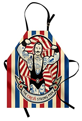 Circus Apron by Ambesonne, Nostalgic Icon the Strong Man with Tattoos and Muscles Circus Star Fun Art Print, Unisex Kitchen Bib Apron with Adjustable Neck for Cooking Baking Gardening, Beige Red Blue