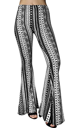 Daisy Del Sol High Waist Gypsy Comfy Yoga Ethnic Tribal Stretch 70s Bell Bottom Flare Pants (Medium, - 70s Items