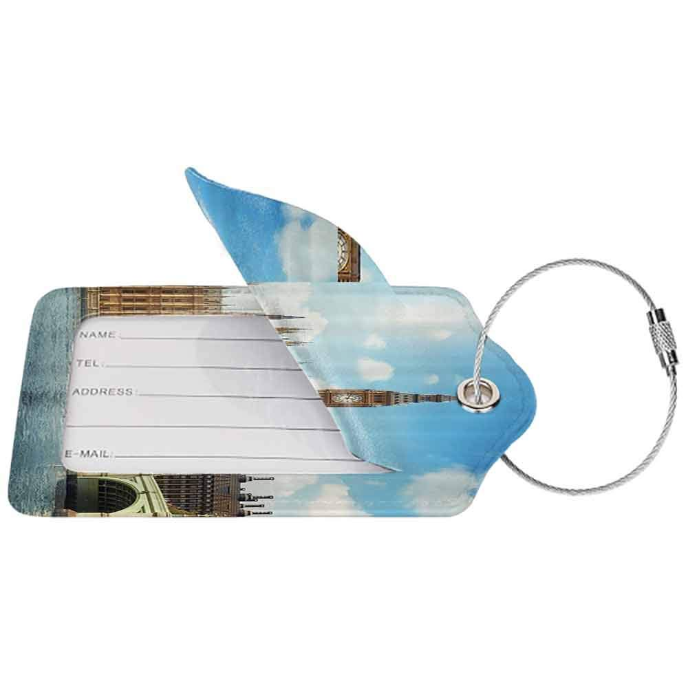 Soft luggage tag London Decor Collection Scenery of Iconic Big Ben Westminster Bridge Thames River and Houses of Parliament Bendable Blue Ivory W2.7 x L4.6