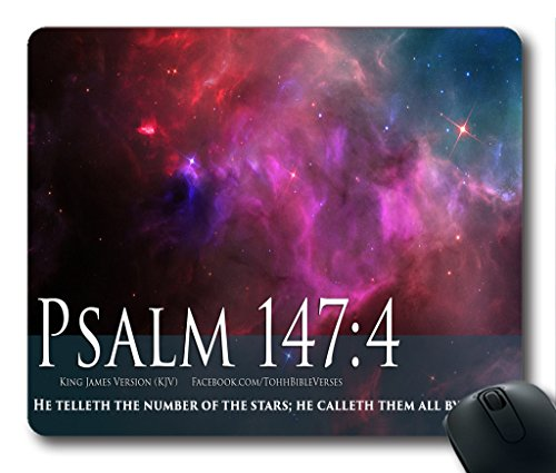 Inspirational Bible Verse Quotes Psalm 147:4 Stars In Space Cosmos Oblong Mouse Pad in 240mm*200mm*3mm VQ0711004